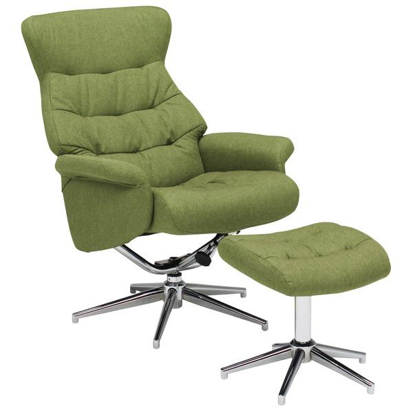 【組立設置費込】パーソナルチェア (イス 椅子) ー 【オットマン 足置き 付き】 ファブリック(布製)生地 肘付き グリーン(緑) 【PARSLEY】パセリ 【組立品】 緑