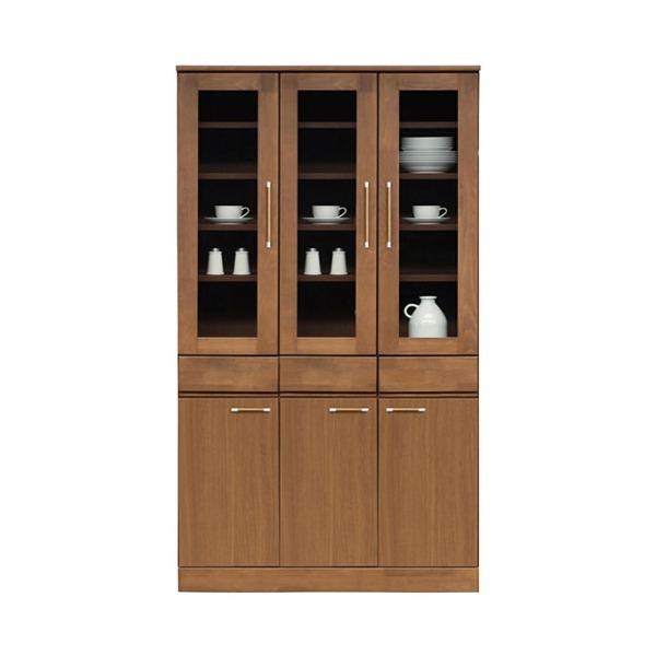 ダイニングボード(食器棚/キッチン収納) 【幅105cm】 木製 ガラス扉 日本製 ブラウン 【MORRIS】モーリス 【完成品 開梱設置】【代引不可】