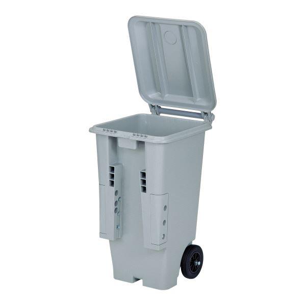 三甲(サンコー) ゴミコンテナボックス(大型反転式コンテナ) プラスチック製 蓋/キャスター付き SCB-130P ライトグレー(灰) 【代引不可】