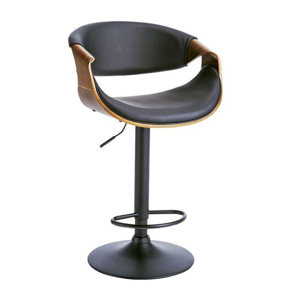 曲げ木バーチェア (イス 椅子) (カウンターチェア ) 肘付き 張地:合成皮革(合皮 フェイクレザー ) 昇降式 360度回転 足置き付き ブラウン 茶