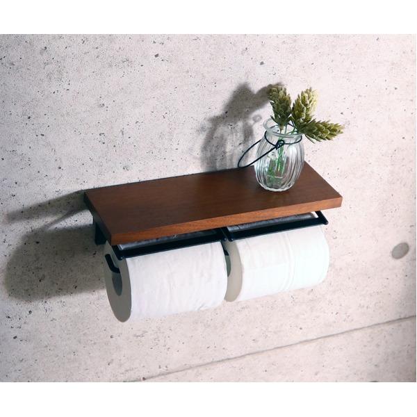 トイレットペーパーホルダー/トイレ用品 【2連】 幅29cm 木製×金属 スチール 『SIGNO シグノ』 【完成品】