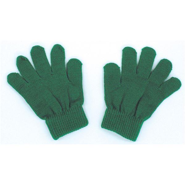 (まとめ) カラーのびのび手袋 【子供用サイズ】 アクリル製 グリーン(緑) 【×50セット】 緑