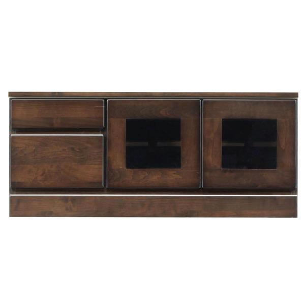 2段ローボード/テレビ台 【幅90cm:26型~40型対応】 木製 扉収納付き 日本製 ダークブラウン 【完成品】【代引不可】