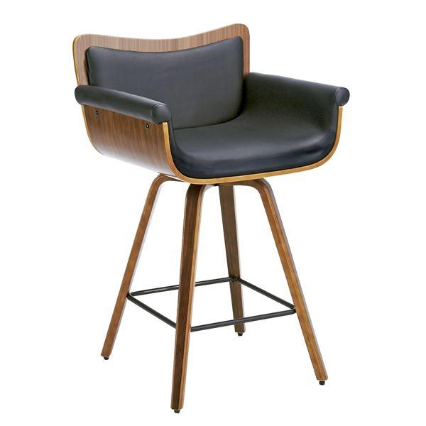 曲げ木バーチェア (イス 椅子) (カウンターチェア ) 肘付き 張地:合成皮革(合皮 フェイクレザー ) 360度回転 足置き付き ブラウン 茶