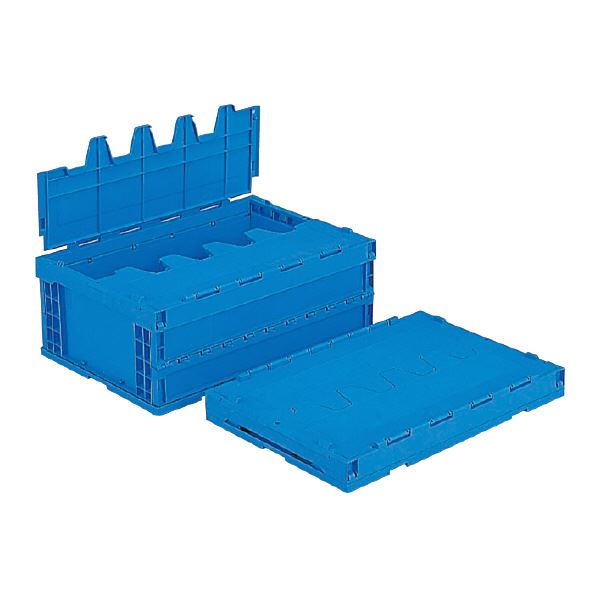 (業務用5個セット)三甲(サンコー) 折りたたみコンテナボックス/サンクレットオリコン 【フタ付き】 P55B-S ブルー(青) 【代引不可】