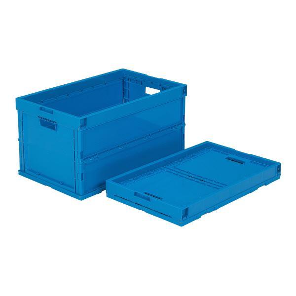 (業務用5個セット)三甲(サンコー) 折りたたみコンテナボックス/オリコン 【64L】 プラスチック製 P64B ブルー(青) 【代引不可】