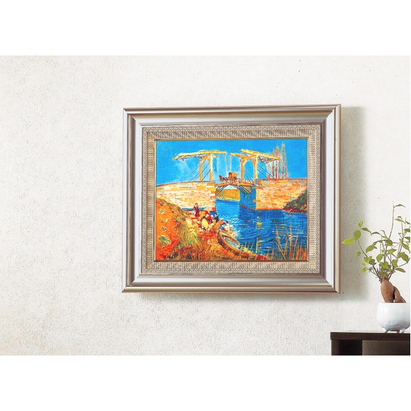 名画額縁/フレームセット 【F6AS】 ゴッホ「アルルのはね橋」 477×571×59mm 壁掛けひも付き