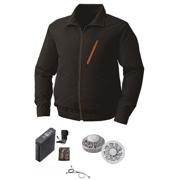 空調服 ポリエステル製長袖ブルゾン P-500BN 【カラー:ブラック サイズ:M】 リチウムバッテリーセット