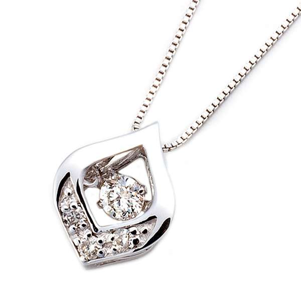 ダイヤモンド ネックレス 一粒 K18 ホワイトゴールド 0.1ct ダンシングストーン ダイヤモンドスウィング 雫モチーフ 揺れるダイヤ ペンダント 鑑別カード付き 白