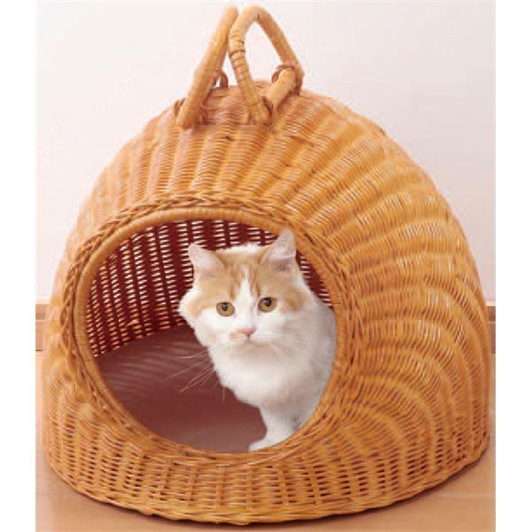 天然籐製キャットハウス/猫ハウス 【ちぐらタイプ】 クッションシート/持ち手付き カバーのみ手洗い可【代引不可】