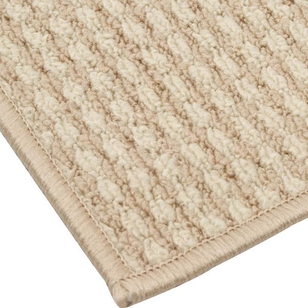 抗菌 清潔 防臭 ループカーペット ラグマット じゅうたん 敷き物 / 本間 6畳 286×382cm / アイボリー オールシーズン対応 平織り 『リップル』 九装 乳白色