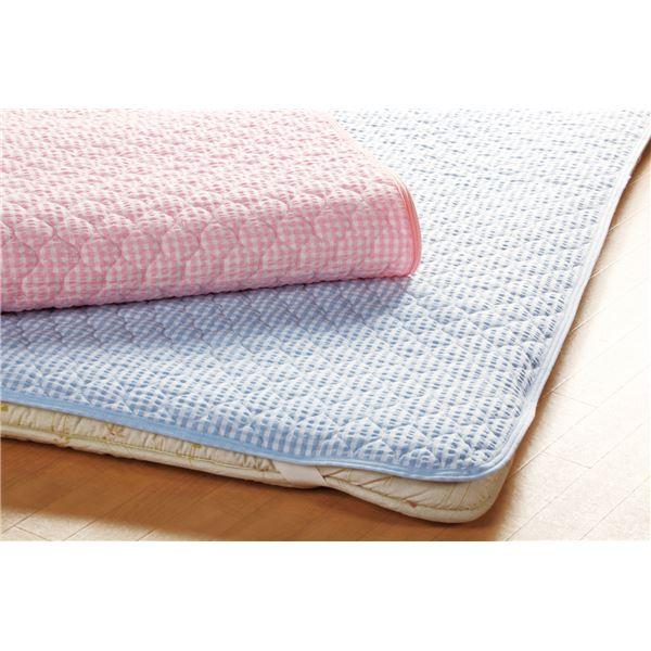 先染め綿サッカー織敷パット ピンク シングル 同色2枚組