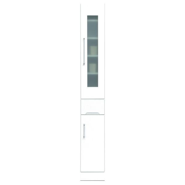 スリムボード食器棚/キッチン収納 幅25cm 飛散防止加工ガラス使用 移動棚付き 日本製 ホワイト(白) 【完成品】【代引不可】
