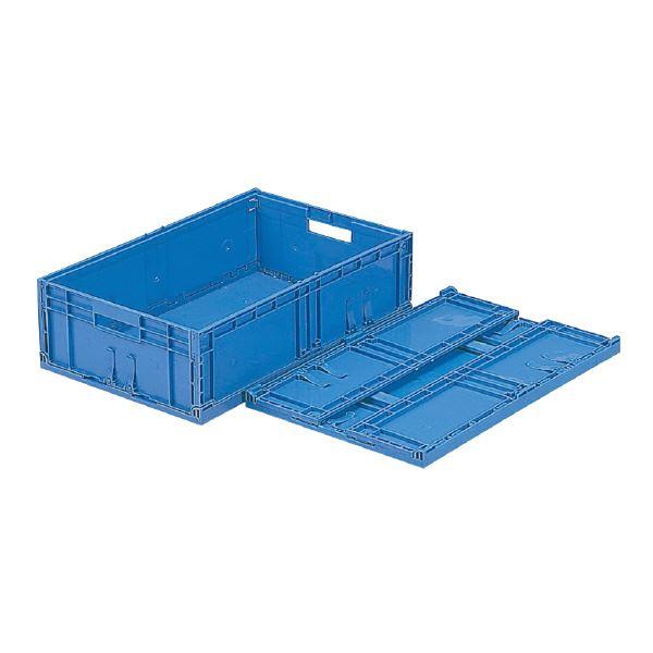 (業務用10個セット)三甲(サンコー) F-Box(折りたたみコンテナボックス/オリコン) 内倒れ方式 122 無地 ブルー(青) 【代引不可】