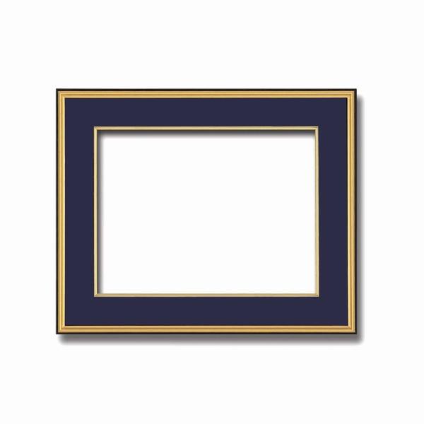 【和額】黒い縁に金色フレーム 日本画額 色紙額 木製フレーム ■黒金 色紙F8サイズ(455×380mm) 紺