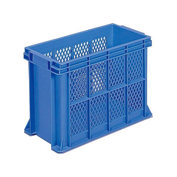 (業務用6個セット)三甲(サンコー) 全面網目コンテナボックス/サンテナー スタッキング可 B38 PP ブルー(青) 青
