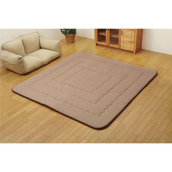 インド綿 ふっくら 厚敷き フロアマット 『アルフ F敷』 ブラウン 190×240cm 茶