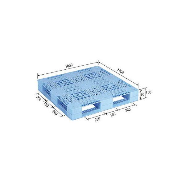 三甲(サンコー) プラスチックパレット/プラパレ 【片面使用型】 D4-1010 ライトブルー(青)【代引不可】