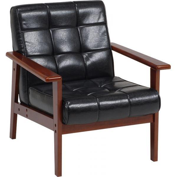 ソファー/パーソナルチェア (イス 椅子) 【1人掛け】 肘付き ミッドセンチュリー風 ブラック(黒) 黒