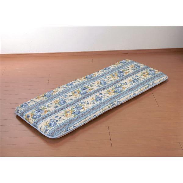 ワイド&ロングごろ寝長座布団 へたりにくい固綿入三層構造 ブルー【代引不可】