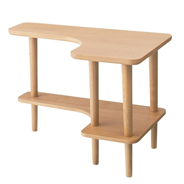 北欧調サイドテーブル/デザインミニテーブル 【幅80cm ナチュラル】 木製 棚付き NYT-781NA