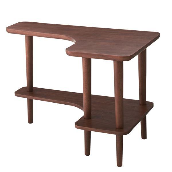 北欧調サイドテーブル/デザインミニテーブル 【幅80cm ウォールナット】 木製 棚付き NYT-781WAL