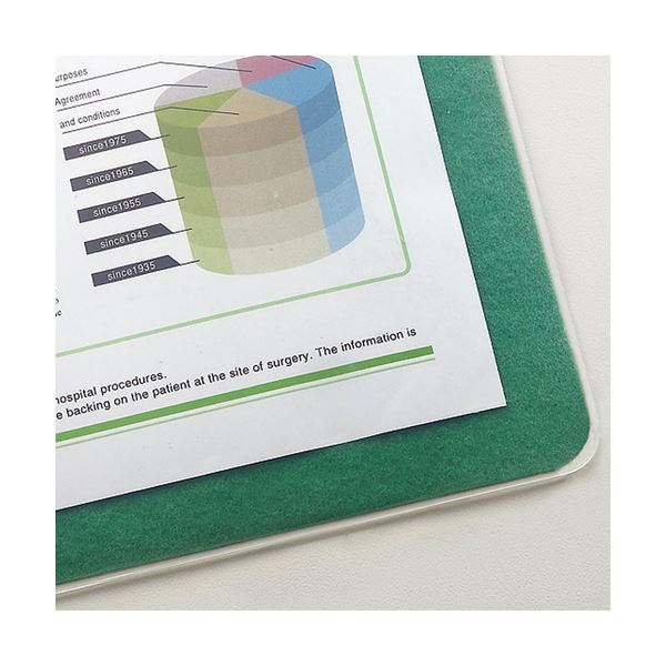 (まとめ) TANOSEE 再生透明オレフィンデスク (テーブル 机) マット ダブル(下敷付) 600×450mm グリーン 1枚 【×5セット】 緑