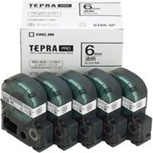 (業務用5セット) キングジム テプラ PROテープ/ラベルライター用テープ 【幅:6mm】 5個入り ST6K-5P 透明