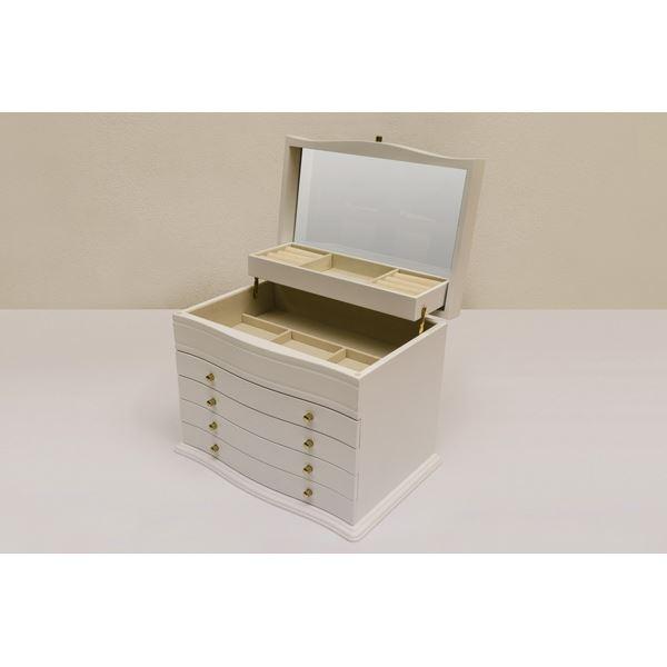 ジュエリー 宝石 ボックス/ジュエリー ケース 木製/ミラー/フエルト張り 幅34cm ホワイト(白) 白
