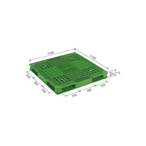 三甲(サンコー) プラスチックパレット/プラパレ 【両面使用型】 段積み可 R4-1111-4 グリーン(緑)【代引不可】