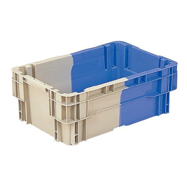 (業務用10個セット)三甲(サンコー) SNコンテナ/2色コンテナボックス 【Nタイプ】 水抜孔有 #29 Aグレー×ブルー 青