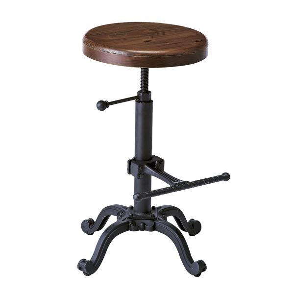 シンプル バーチェア (イス 椅子) /カウンターチェア 【座面昇降式】 高さ54~70cm 天然木 木製 ・金属 スチール 『インダストリアルシリーズ』