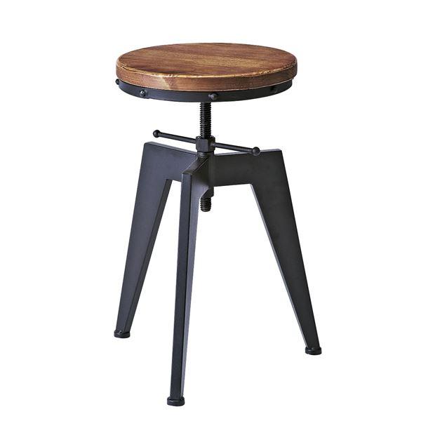 シンプル バーチェア (イス 椅子) /カウンターチェア 【座面回転昇降式】 高さ49~65cm 天然木 木製 ・金属 スチール 『インダストリアルシリーズ』