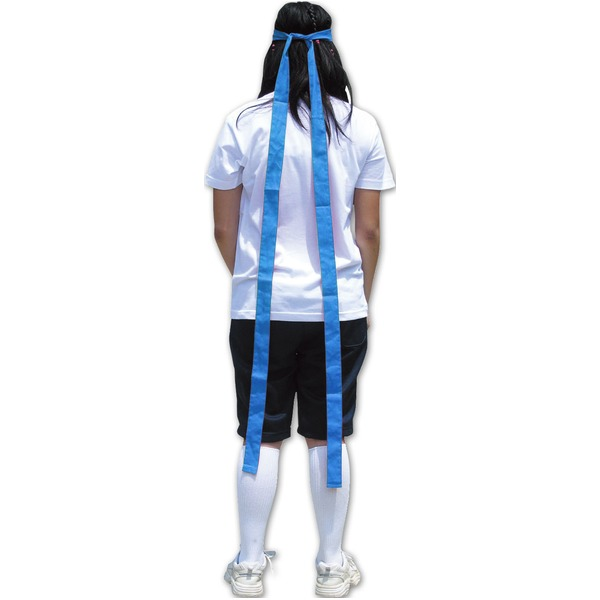 (まとめ) 鉢巻/はちまき 【ロング丈 長い 長尺 】 巾40mm×3m 綿100% ブルー(青) 【×30セット】 青