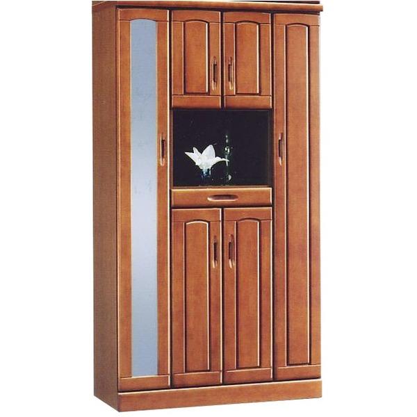 ハイシューズボックス(下駄箱) 幅100cm×奥行40cm×高さ180cm 木製 棚板付き 日本製 国産 ブラウン 【Horizon3】ホライゾン3 【完成品】【玄関渡し】 茶