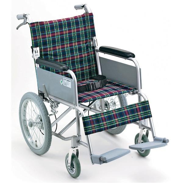 アルミ製 介護車/車椅子 【背折れタイプ】 軽量 折り畳み ハンドブレーキ付き シートベルト付き 〔介護用品 福祉用品〕