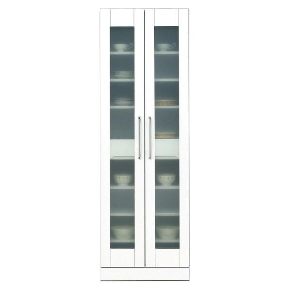シンプルで使いやすい上置き棚付きキッチンボード/カップボード 食器棚(キッチン収納庫) 【上置き付き】 幅60cm 飛散防止ガラス扉/可動棚付き 日本製 ホワイト(白) 【完成品 開梱設置】 白