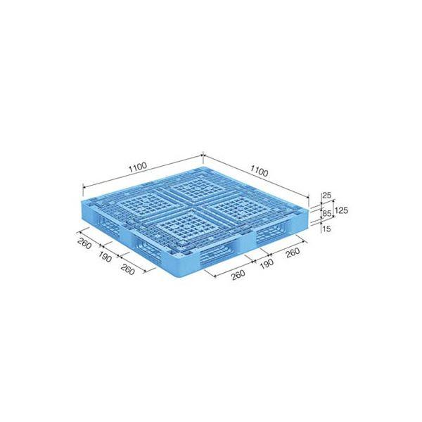 三甲(サンコー) プラスチックパレット/プラパレ 【片面使用型】 D4-1111-4 ライトブルー(青)【代引不可】