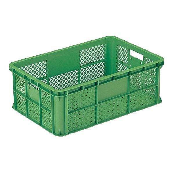 (業務用5個セット)三甲(サンコー) 全面網目コンテナボックス/サンテナー スタッキング可 B37-2 グリーン(緑) 【代引不可】