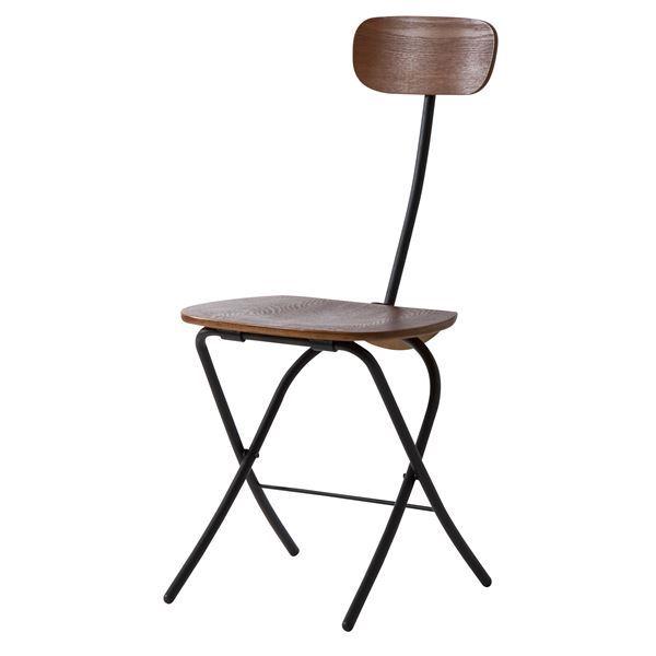 フォールディングチェア (イス 椅子) /折りたたみ椅子 (イス チェア) 【ブラック】 高さ85cm 金属 スチール フレーム 木目調 PC パソコン -21BK 黒