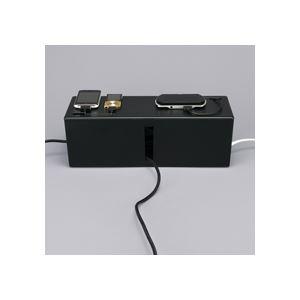 (まとめ) バッファロー ケーブルボックス 電源タップ&ケーブル収容 Lサイズ ブラック BSTB01LBK 1個 【×2セット】