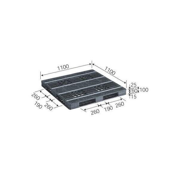 三甲(サンコー) プラスチックパレット/リサイクルパレット 【片面使用型】 D4-1111-10 ブラック(黒)【代引不可】