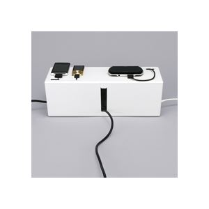 (まとめ) バッファロー ケーブルボックス 電源タップ&ケーブル収容 Lサイズ ホワイト BSTB01LWH 1個 【×2セット】