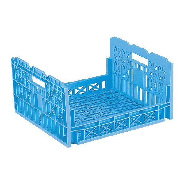 (業務用5個セット)三甲(サンコー) 全面網目コンテナボックス/サンテナー 【Dタイプ】 オープン形状 D60M ライトブルー(青) 青