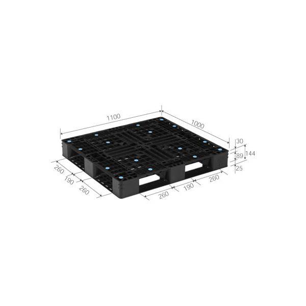 三甲(サンコー) プラスチックパレット/リサイクルパレット 【片面使用型】 D4-1011-3 ブラック(黒) 黒