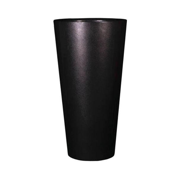 植木鉢/プランター 【トールラウンド型 メタリックブラック 高さ49cm】 中底網付 底穴なし 『ヴォーグ』 〔ガーデニング用品〕