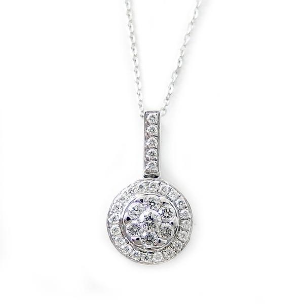 ダイヤモンド ネックレス K18 ホワイトゴールド 0.23ct 7ダイヤ コロネットセッティング Hカラー SIクラス バケットダイヤ 0.23カラット ペンダント 白
