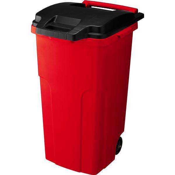 【3セット】 可動式 ゴミ箱/キャスターペール 【90C2 2輪】 レッド フタ付き 〔家庭用品 掃除用品〕 赤