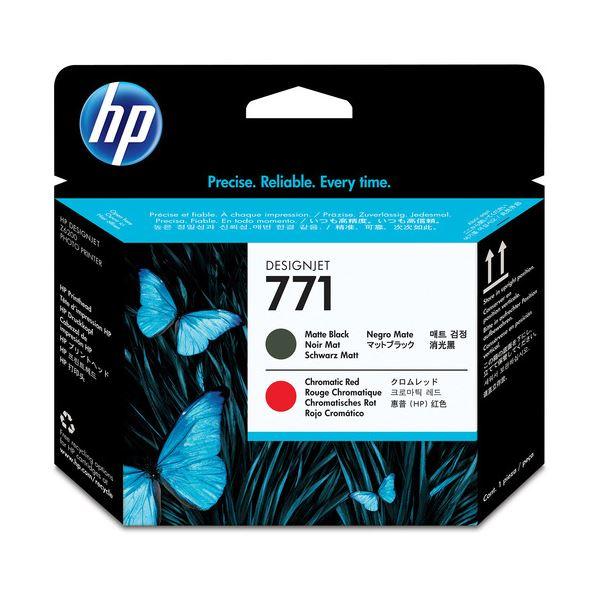 (まとめ) HP771 プリントヘッド マットブラック/クロムレッド CE017A 1個 【×3セット】 黒 赤