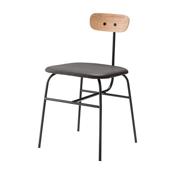 デザインチェア (イス 椅子) /リビングチェア リビング用 応接チェア イス 椅子 【ブラック】 金属 スチール フレーム 張地:合成皮革/合皮 フェイクレザー PLC-510BK 黒